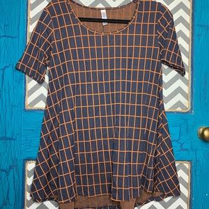 LuLaRoe perfect t size XS. GRID navy and rust